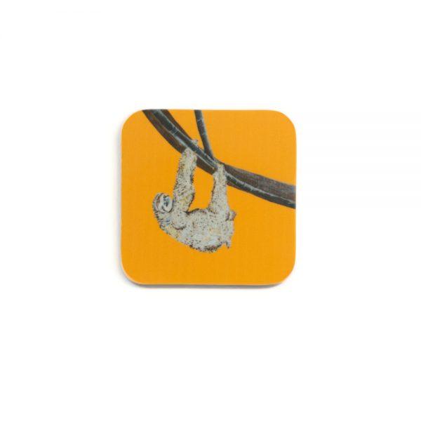 Stella the Sloth Coaster with orange background