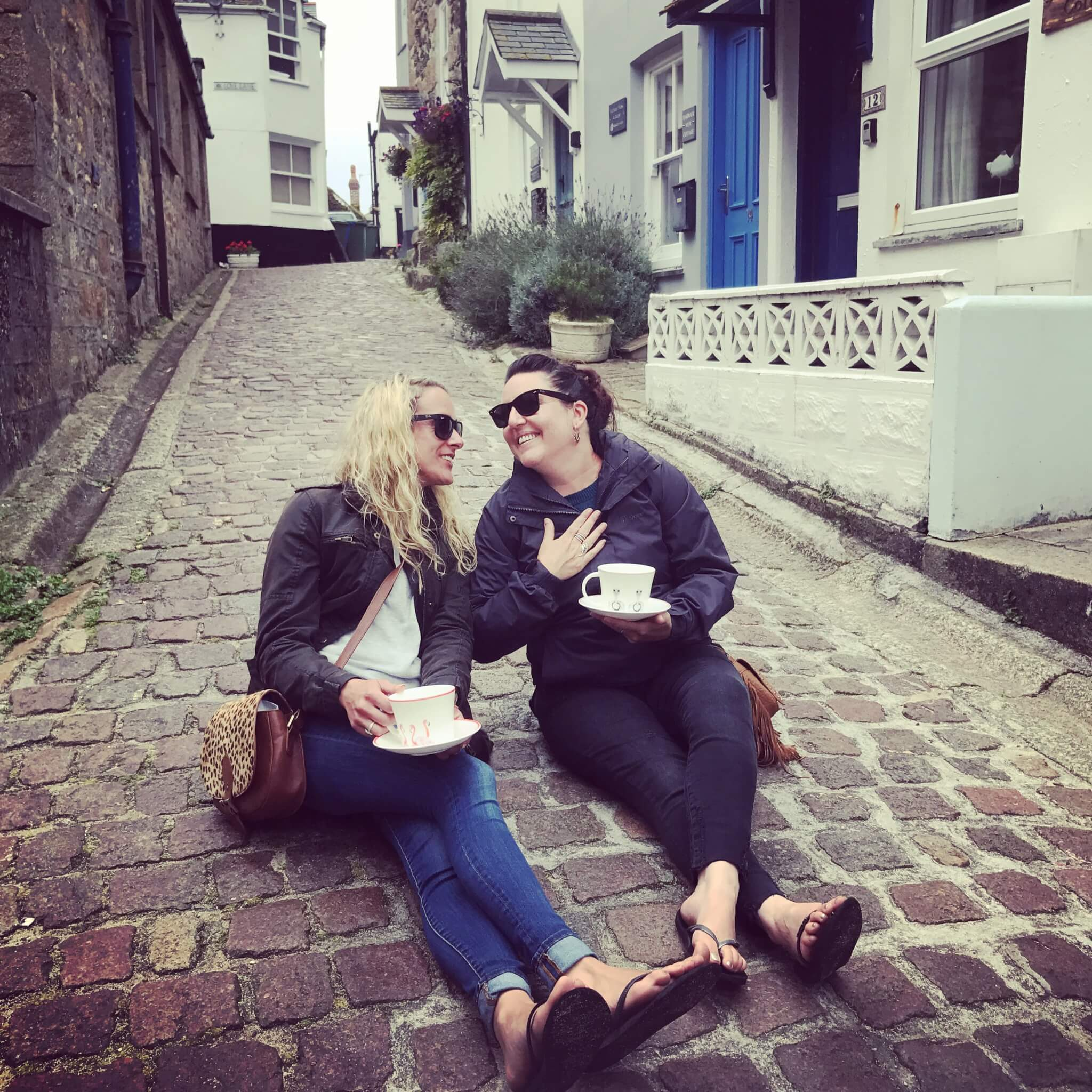 Emily and Alex tea in the street