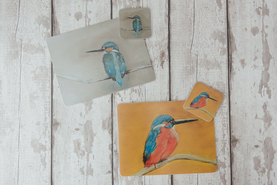 Kingfisher Melamine Placemats & Coasters on Wooden Background