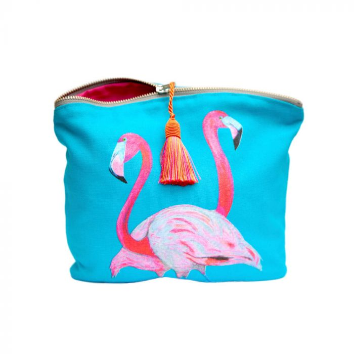 Beautiful Hand-made Blue Make-up bag with Flamingo Print design